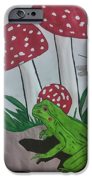 Etc. Drawings iPhone Cases - The Frog and Mushroom iPhone Case by Earnestine Clay