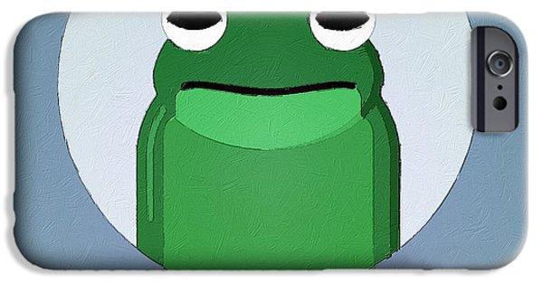 Amphibians Digital Art iPhone Cases - The Frog Cute Portrait iPhone Case by Florian Rodarte