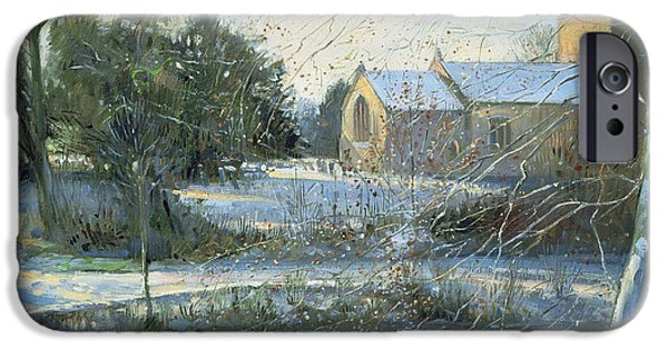 East Village iPhone Cases - The Frozen Moat, Bedfield Oil On Canvas iPhone Case by Timothy Easton