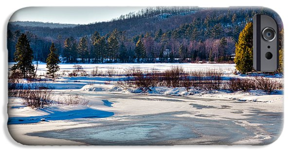 Snow Scene iPhone Cases - The Frozen Moose River II - Old Forge New York iPhone Case by David Patterson