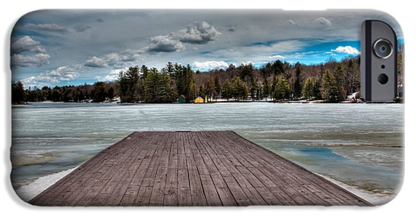 Snow Scene iPhone Cases - The Frozen Old Forge Pond in the Adirondack Mountains iPhone Case by David Patterson