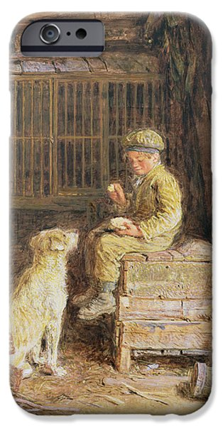 Young Paintings iPhone Cases - The Frugal Meal iPhone Case by William Henry Hunt