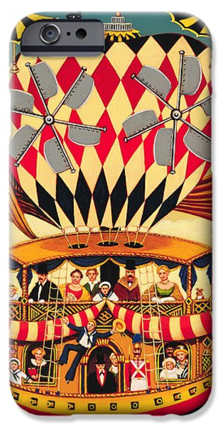 Hot Air Balloon iPhone Cases - The Future Of The Transatlantic Flight, 1999 Oil & Tempera On Panel iPhone Case by Frances Broomfield