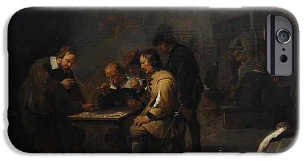 Interior Scene iPhone Cases - The Gamblers, C. 1640, By David Teniers The Younger 1610-1690 iPhone Case by Bridgeman Images