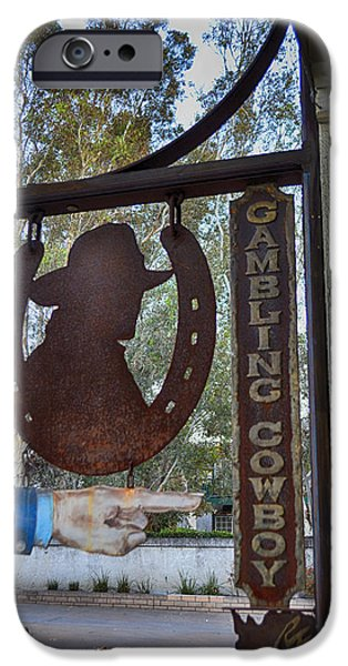 Old Town Temecula iPhone Cases - The Gambling Cowboy iPhone Case by Tommy Anderson