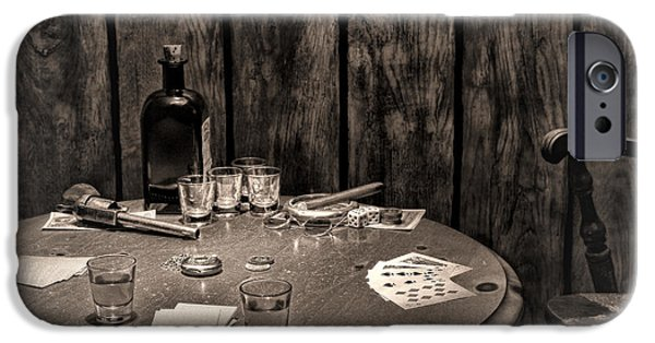 Pioneer Scene iPhone Cases - The Gambling Table iPhone Case by Olivier Le Queinec