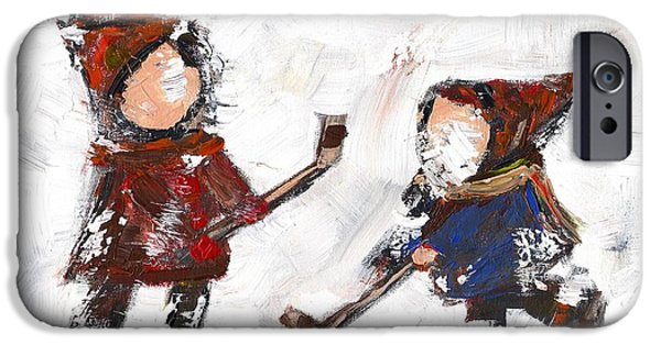 Hockey Paintings iPhone Cases - The Game iPhone Case by David Dossett
