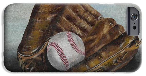 Baseball Glove Paintings iPhone Cases - The game iPhone Case by Genevieve  Bascetta