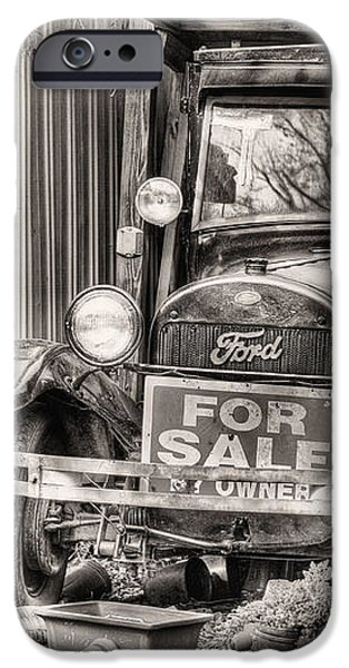The Garage Sale Black and White iPhone Case by JC Findley