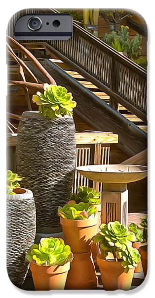 Wooden Stairs iPhone Cases - The Garden Gallery Morro Bay California iPhone Case by Barbara Snyder