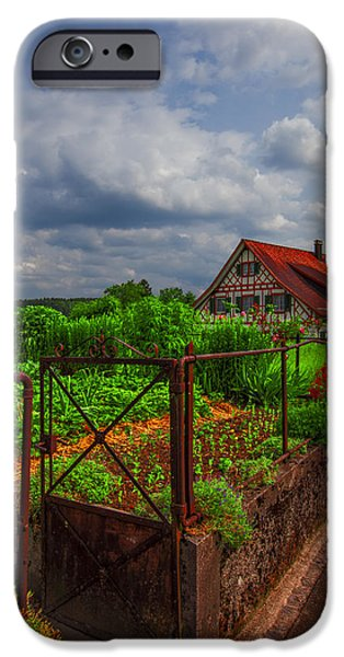 Charming Cottage iPhone Cases - The Garden Gate iPhone Case by Debra and Dave Vanderlaan