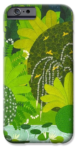 Mango Drawings iPhone Cases - The garden iPhone Case by Saket Mehendale