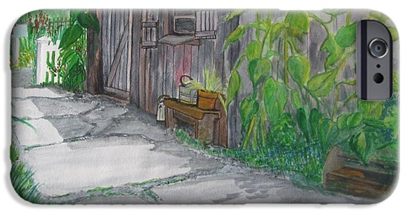 Shed Drawings iPhone Cases - The Garden Shed iPhone Case by Kathleen Barlament