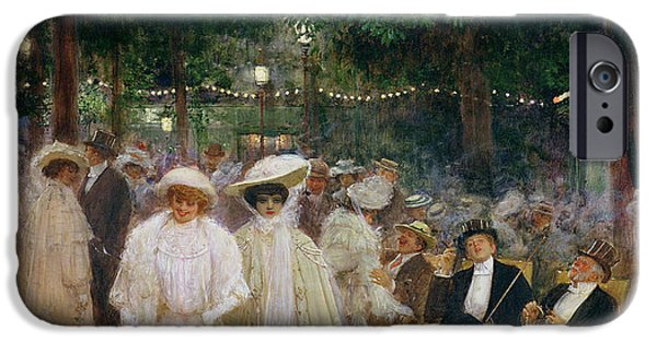 Nike Photographs iPhone Cases - The Gardens Of Paris, Or The Beauties Of The Night, 1905 Oil On Canvas iPhone Case by Jean Beraud