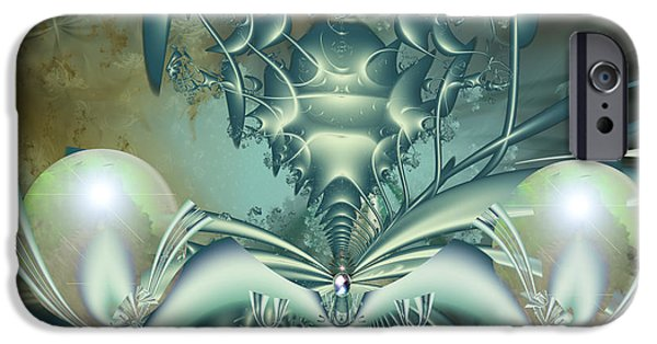 Fractal Other Worlds iPhone Cases - The Gateway Machine iPhone Case by Mary Almond