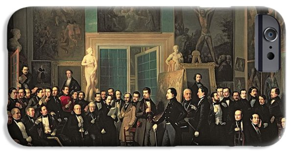 Statue Portrait iPhone Cases - The Gathering Of The Poets, 1846 Oil On Canvas iPhone Case by Antonio Maria Esquivel