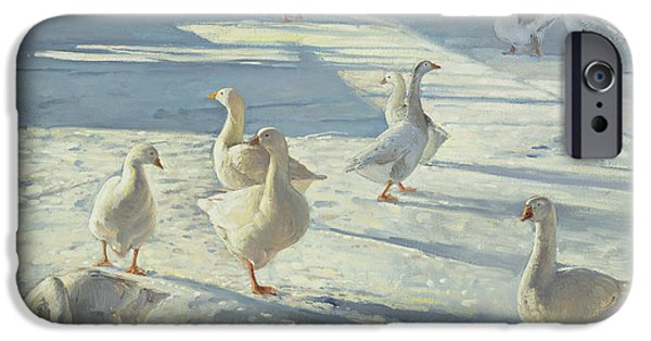 Geese iPhone Cases - The Gathering Oil On Canvas iPhone Case by Timothy Easton