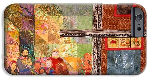 People Tapestries - Textiles iPhone Cases - The Gathering Place iPhone Case by Carol Bridges