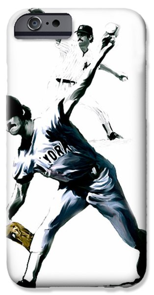 Mlb Drawings iPhone Cases - The Gator  Ron Guidry  iPhone Case by Iconic Images Art Gallery David Pucciarelli