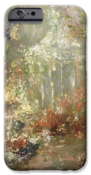 Garden Scene Paintings iPhone Cases - The Gazebo iPhone Case by Elsa Cristina Gailor