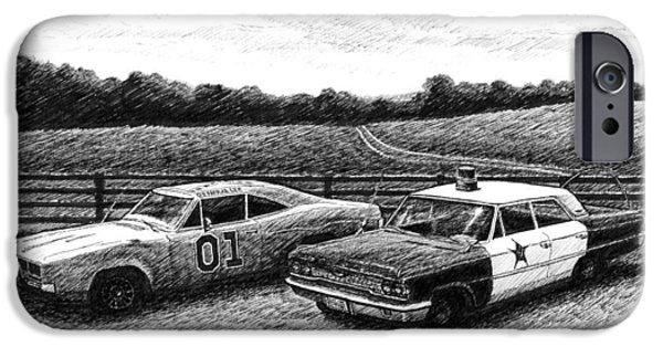 1969 Dodge Charger Stock Car iPhone Cases - The General Lee and Barney Fifes Police Car iPhone Case by Janet King