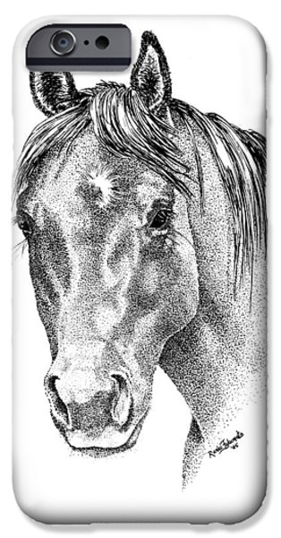Ink On Paper iPhone Cases - The Gentle Eye Horse Head Study iPhone Case by Renee Forth-Fukumoto
