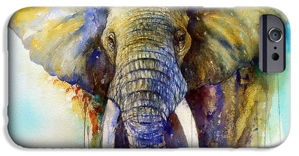 Elephants iPhone Cases - The Gentle Giant iPhone Case by Arti Chauhan