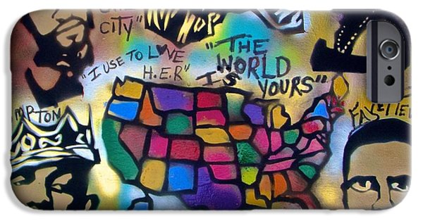 First Amendment Paintings iPhone Cases - The Geography Of Hip Hop iPhone Case by Tony B Conscious