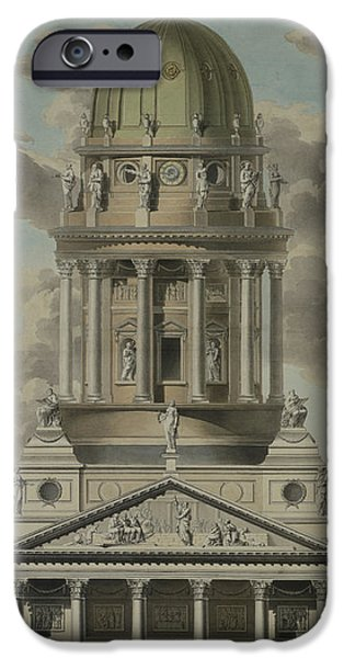 Architecture Drawings iPhone Cases - The German Cathedral on the Gendarmenmarkt iPhone Case by GF Kluge