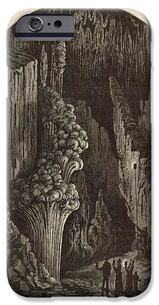 Appleton Art iPhone Cases - The Geyser 1872 Engraving iPhone Case by Antique Engravings