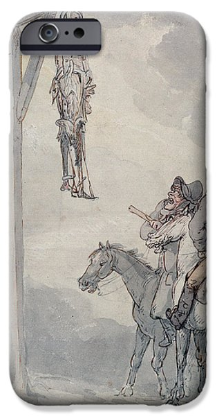 Punishment iPhone Cases - The Gibbet Pen & Ink And Wc On Paper iPhone Case by Thomas Rowlandson