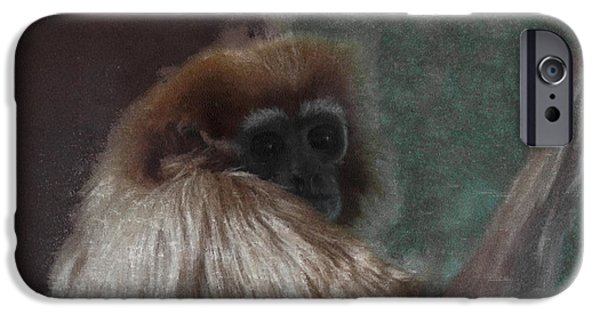 Ape Digital Art iPhone Cases - The Gibbon iPhone Case by Ernie Echols