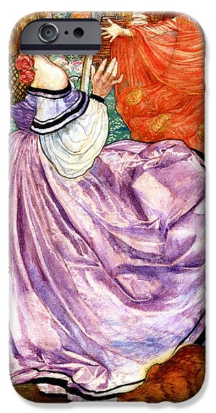 Woman In A Dress iPhone Cases - The Gilded Apple iPhone Case by Eleanor Fortescue Brickdale