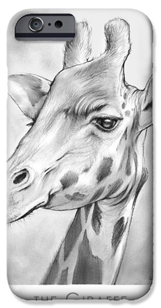 African Animal Drawings iPhone Cases - The Giraffe iPhone Case by Greg Joens