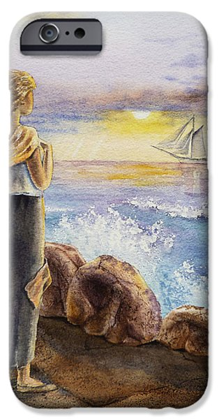 Sailing iPhone Cases - The Girl And The Ocean iPhone Case by Irina Sztukowski