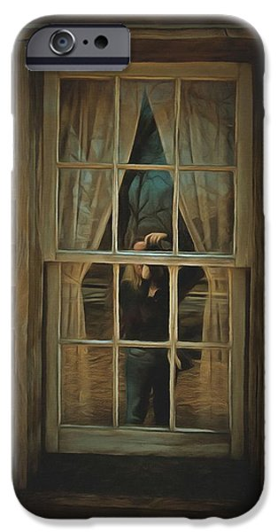 Cabin Window iPhone Cases - The Girl in the Window  iPhone Case by L Wright