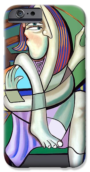 Sitting Digital iPhone Cases - The Girl Next Door iPhone Case by Anthony Falbo