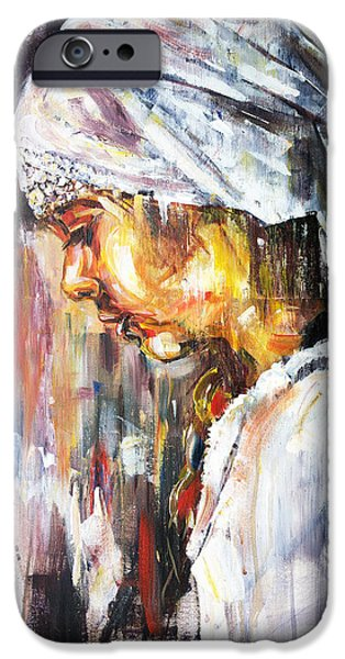 Young Paintings iPhone Cases - The Girl with the Scarf iPhone Case by Zlatko Music