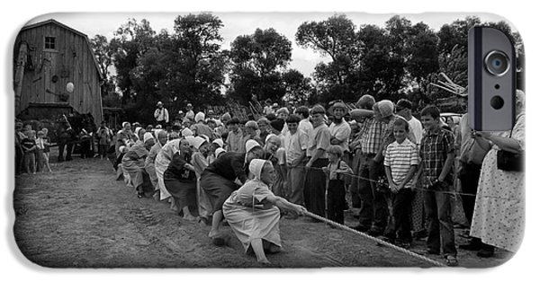 Amish Community Photographs iPhone Cases - The Girls Can Do It Too iPhone Case by Tina M Wenger