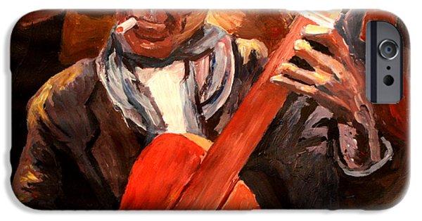Gitarre iPhone Cases - The Gitarrero The Guitarplayer iPhone Case by M Bleichner