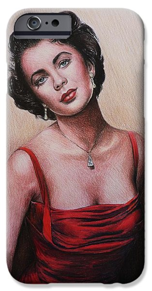 1950s Movies iPhone Cases - The glamour days Elizabeth Taylor iPhone Case by Andrew Read