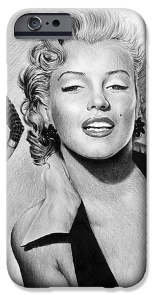 Movie Star Drawings iPhone Cases - The Glamour days Marilyn Monroe iPhone Case by Andrew Read