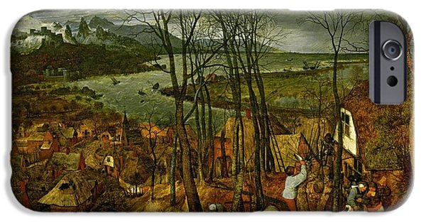 Storm iPhone Cases - The Gloomy Day - Spring, 1559 iPhone Case by Pieter the Elder Bruegel
