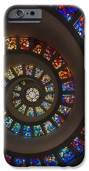 Stained Glass Glass Art iPhone Cases - The Glory Window in Thanks-Giving-Square Dallas iPhone Case by Mountain Dreams