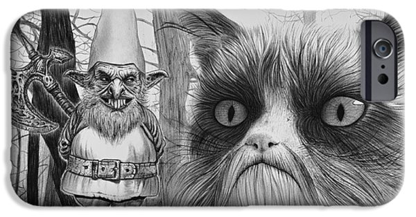 Wave Art iPhone Cases - The Gnome and the Cat iPhone Case by Wave