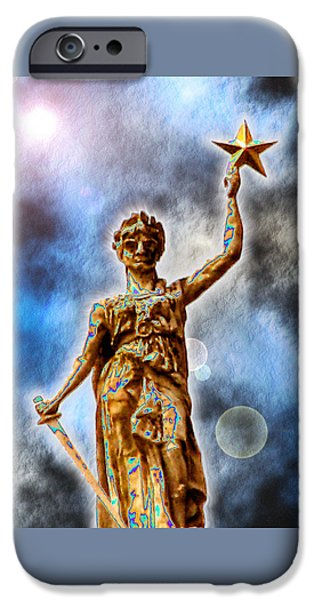 Austin Artist Digital Art iPhone Cases - The Goddess of Liberty - Texas State Capitol iPhone Case by Wendy J St Christopher