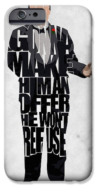 Francis Ford Coppola iPhone Cases - The Godfather Inspired Don Vito Corleone Typography Artwork iPhone Case by Ayse Deniz