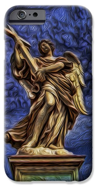 Seraphim Angel iPhone Cases - The Golden Angel iPhone Case by Lee Dos Santos