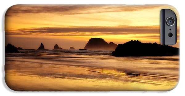 Sunset Framed Prints iPhone Cases - The Golden Coast iPhone Case by Darren  White