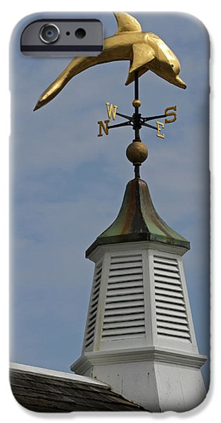 Chatham iPhone Cases - The Golden Dolphin Weathervane iPhone Case by Juergen Roth